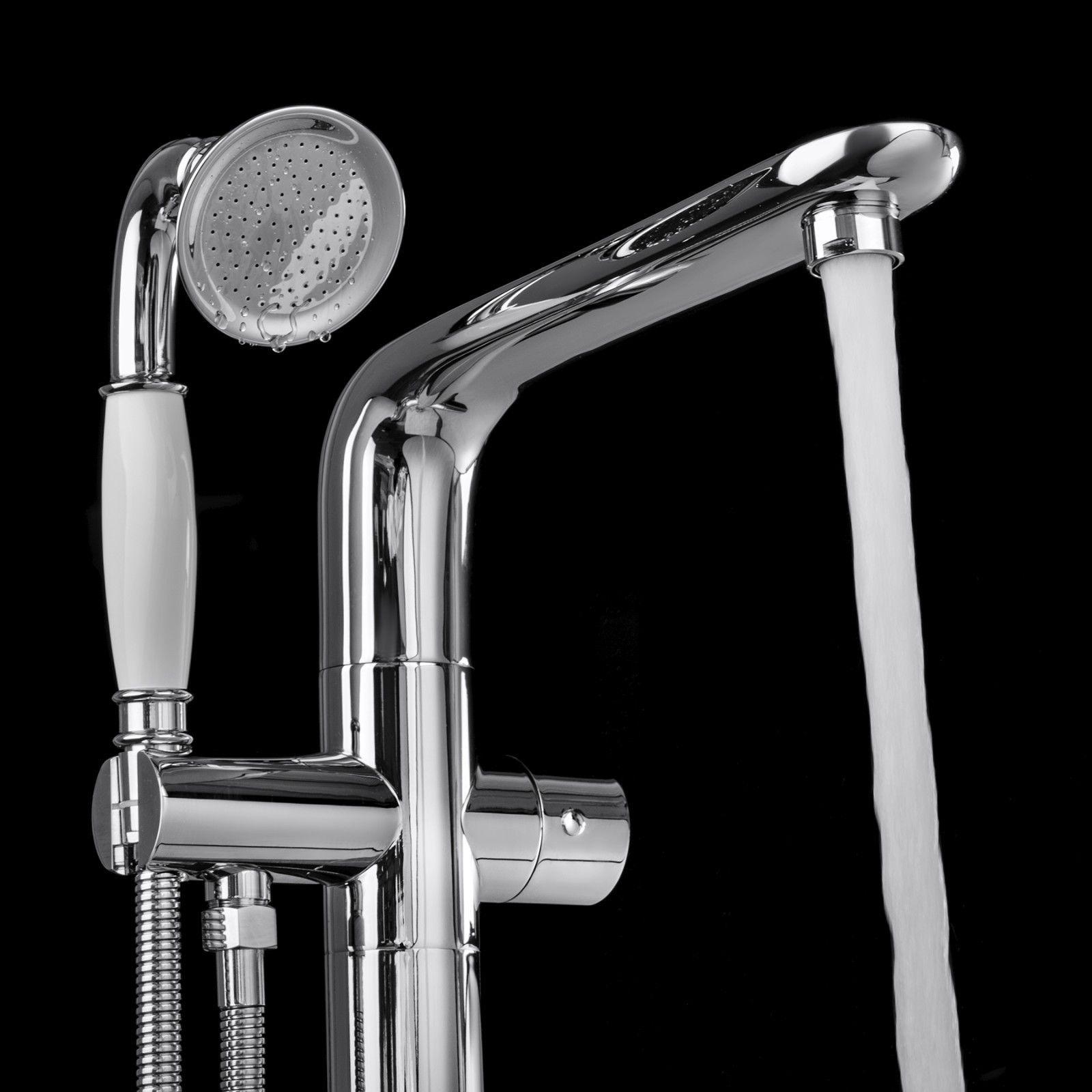 "Medellin 67"" Freestanding Bathtub With Chrome Tub Filler Faucet"