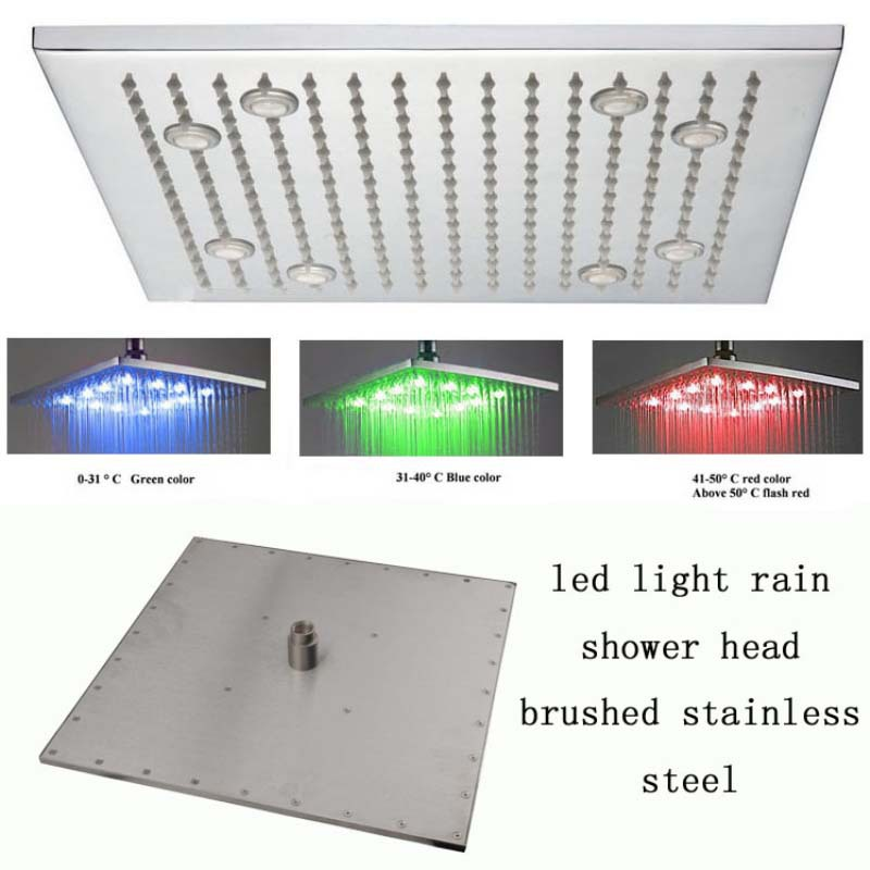 Brushed Nickel LED Rain Shower Head
