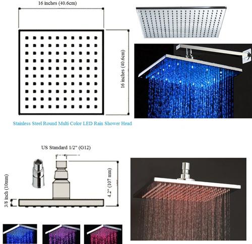 Square rain shower head wall mount