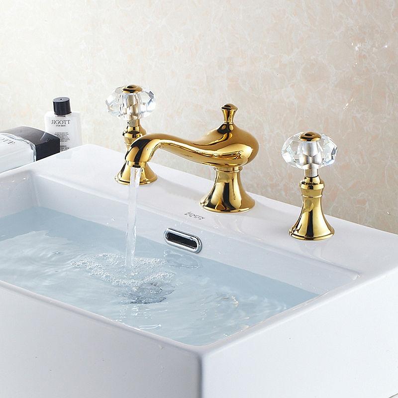 Beautiful Golden Deck Mounted Crystal Handle Bathroom Mixer Faucet