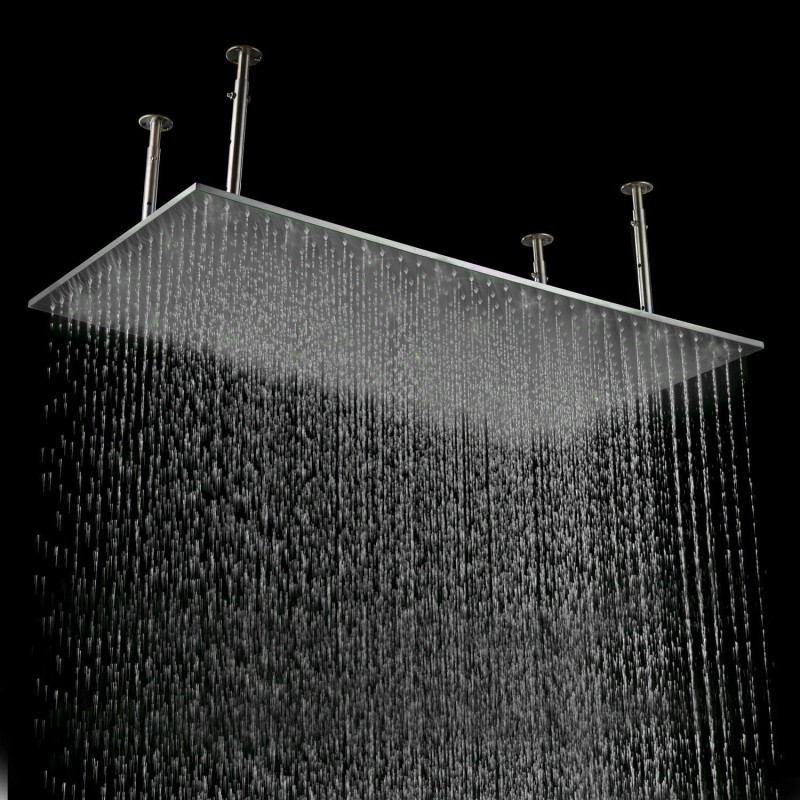 "20""x40"" Large LED Stainless Steel Rectangle Brushed Shower Head"