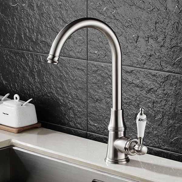 Kitchen & Bathroom Sink Faucet Deck Mount 360 Rotate Hand Swivel Sink Mixer Tap
