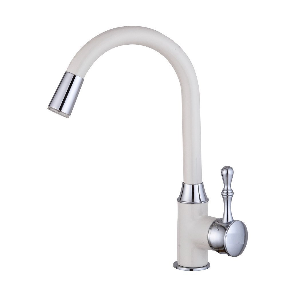 La Paz Kitchen Sink Faucet With LED light In White Painting
