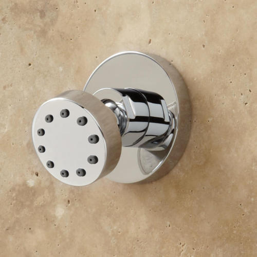 Cali Thermostatic Wall Mount Shower System With Six Body Jets in Brushed Nickel