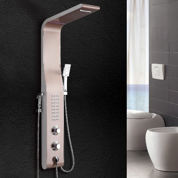 Paris 5 Function Led Shower Panel Waterfall Rainfall Shower Head Massage Jets With Hand Shower