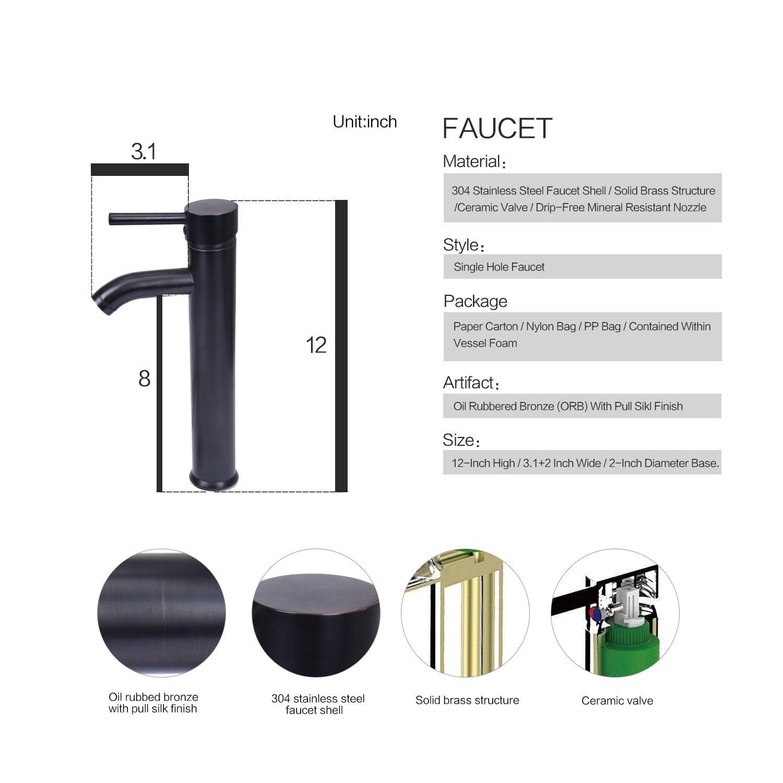 Bracilia Bathroom Vessel Sink With Faucet