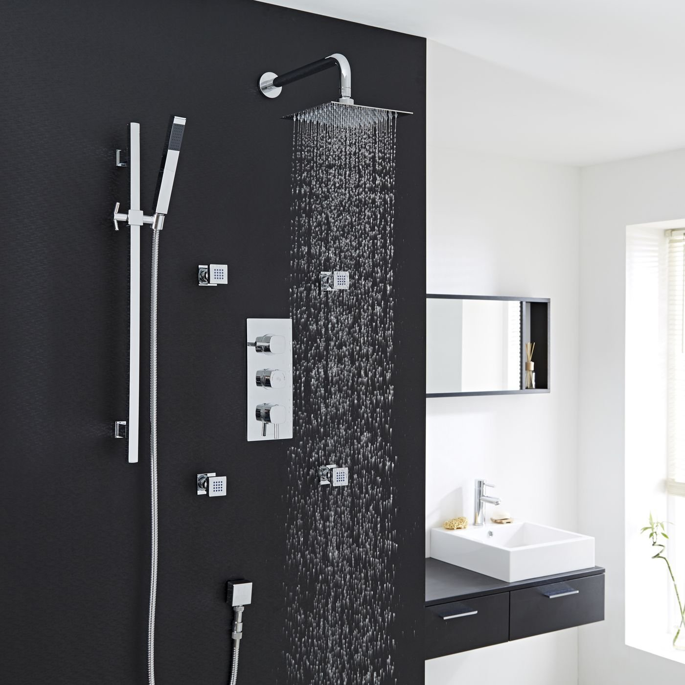"""La Plata 8"""" Square Rainfall Head Three Outlet Thermostatic Shower System Set With 4 Adjustable Body Jet Sprayers In Chrome Finish"""