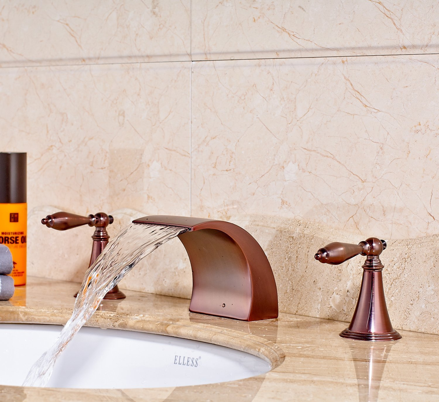 Belem Copper Finish Dual Handle Widespread Waterfall Sink Faucet