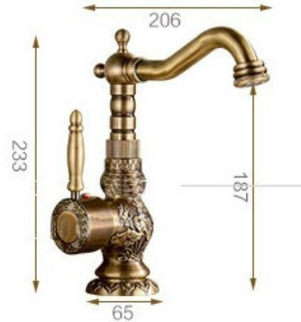 Antique Brass Single Hand Bathroom Sink Faucet