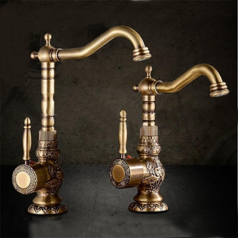 Juno Antique Brass Single Hand Bathroom Sink Faucet