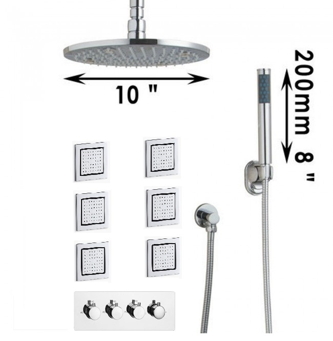 Rain Shower Head with Handheld Shower Head and Body Jets
