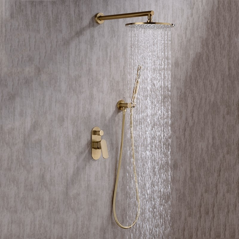 Amazing Round Gold Single Handle Wall Shower with Hand-Held Shower
