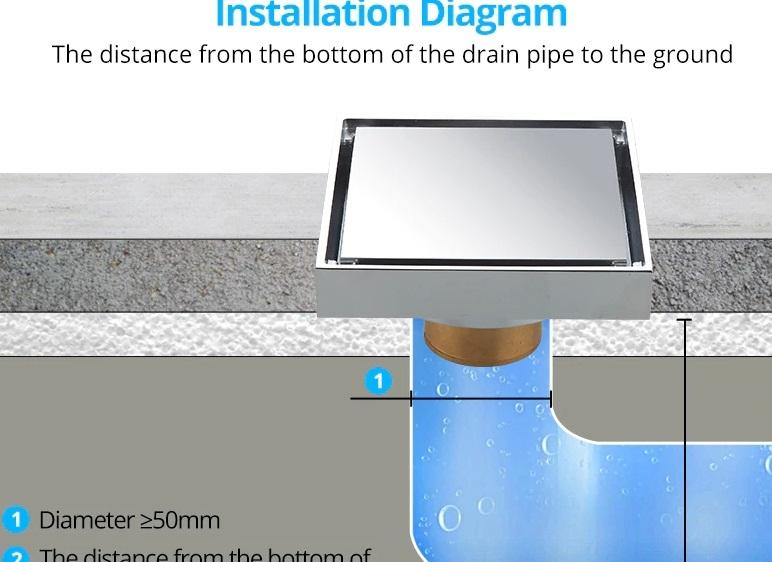 Amazing Round Hole Square Shape Polished Bathroom Floor Drain System