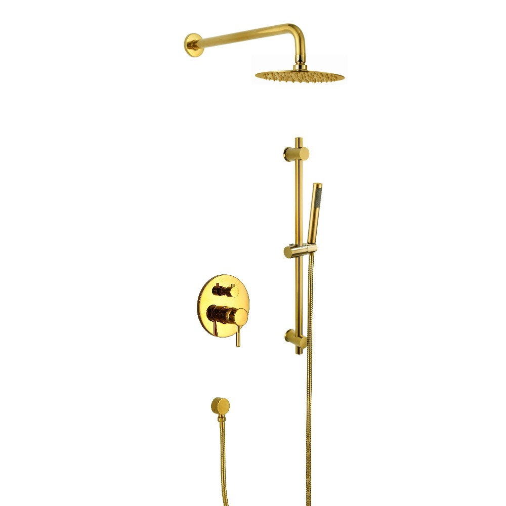 Amazing Thin Round Gold Single Handle Wall Mount Shower with Hand-Held Shower