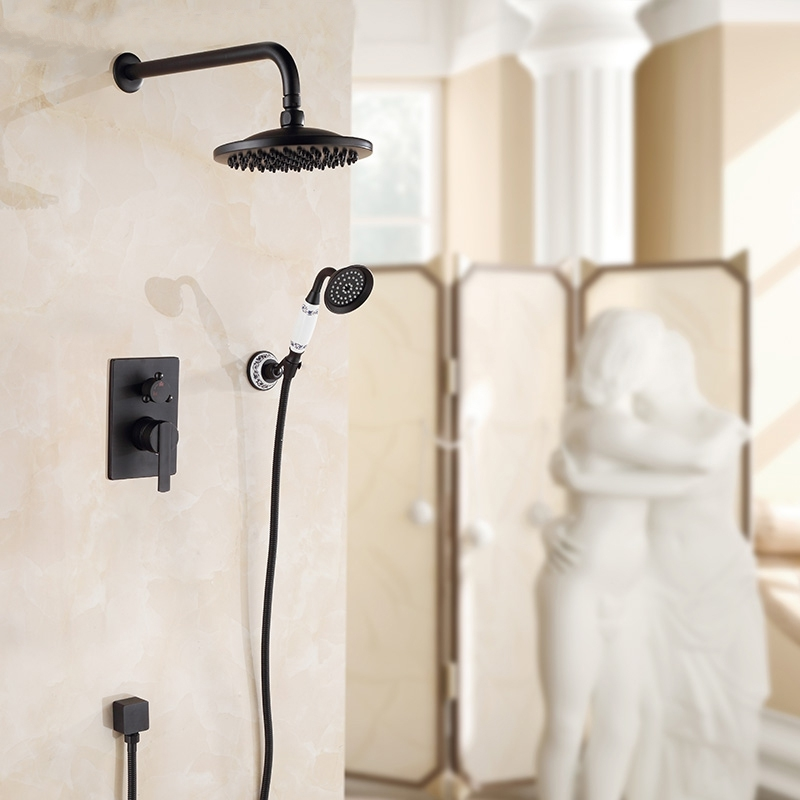 Ancient Ceramic Wall Mount Shower Head with Hand Held Shower