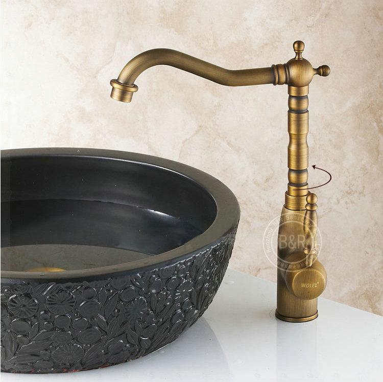 New Long Neck Single Handle Copper Mixer Tap Antique Kitchen Faucet