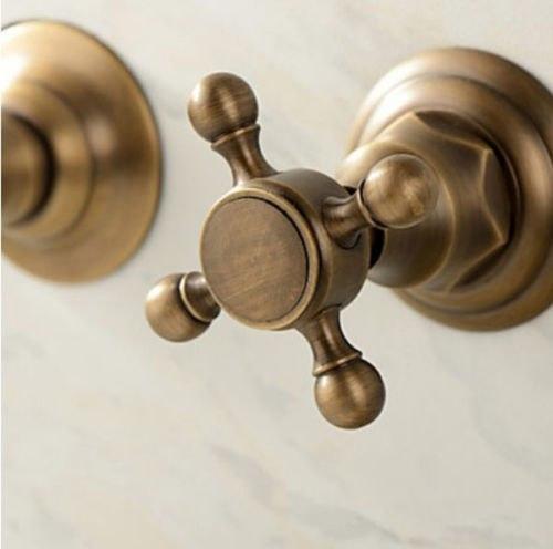 Antique Brass Double Handles Wall Mount Bathroom Sink Faucet