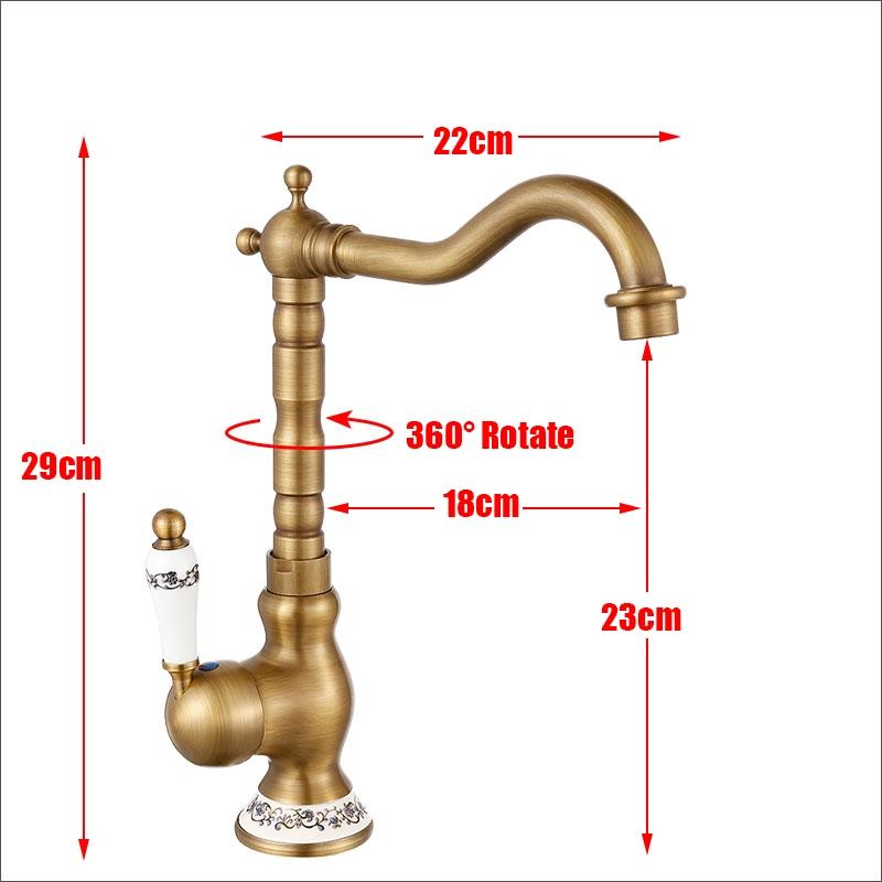 Antique Brass Long Neck Deck Mounted Faucet
