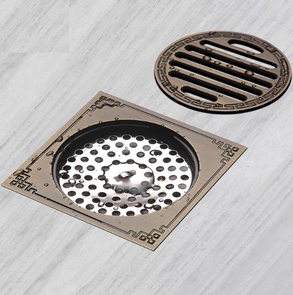 Antique Brass Square Bathroom Shower Drain