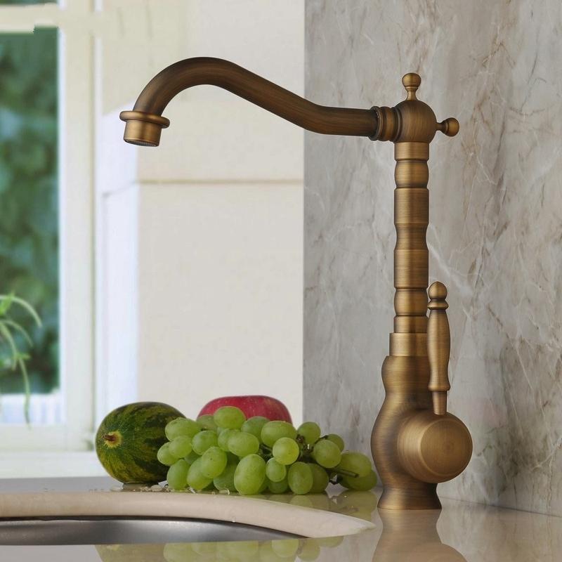 Antique Bronze Longneck Kitchen Sink Faucet