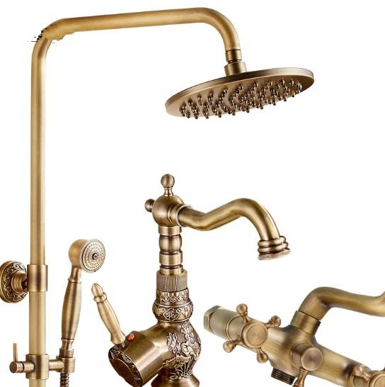 Antique Bronze Shower Head Round Brass with Hand Held Shower & Antique Bathroom Faucet