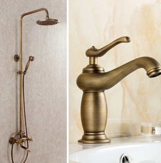 Antique Bronze Shower Head Wall Install with Hand Held Shower & Bathroom Faucet