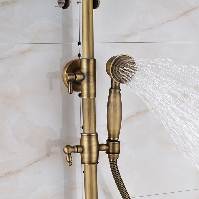 Antique Bronze Wall Mounted Bathtub Faucet Dual Handle Bathroom Shower