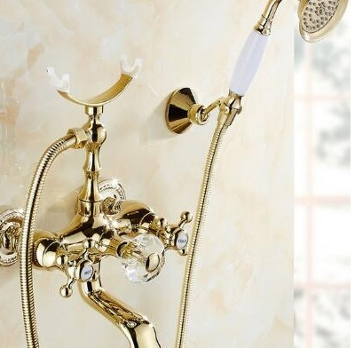 Antique Gold Telephone Single Handle Bathtub Mixer Faucet with Hand Held Shower