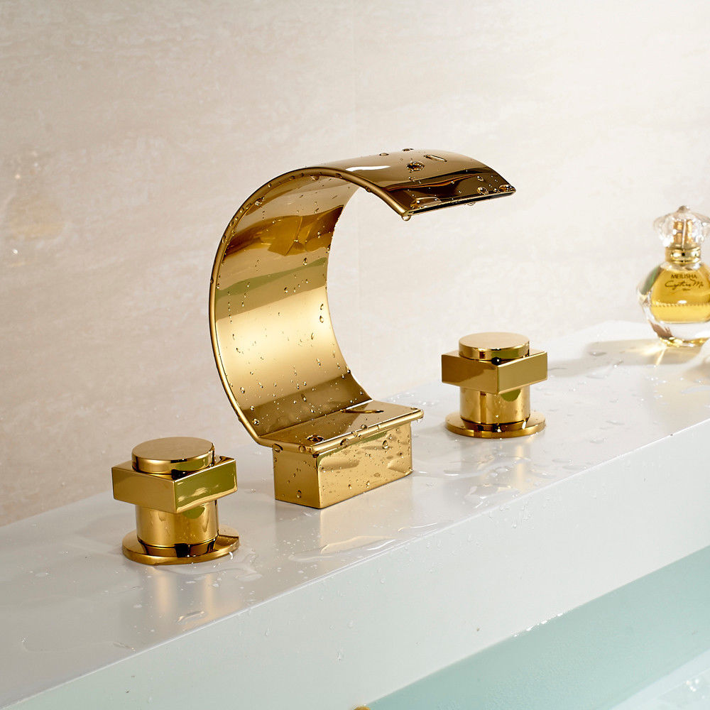 Gold Finish Bathroom Basin Sink Faucet