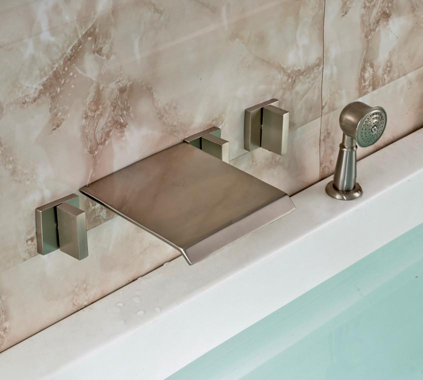 Triple Handle Bathtub Waterfall Faucet with Handheld Shower Head