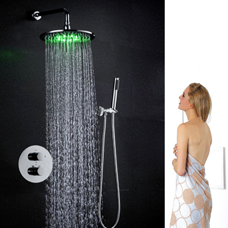"""Rome 10"""" Round Wall Mount Color Changing LED Rain Shower Head Set"""