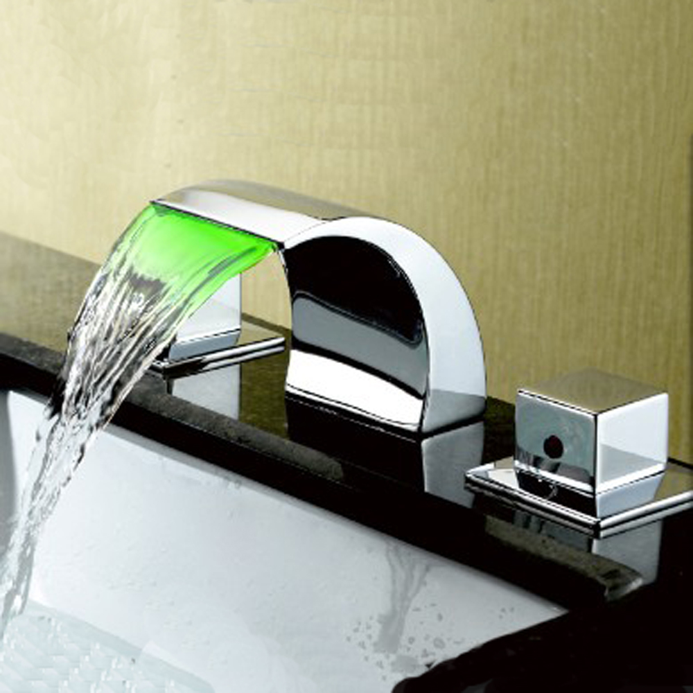 Led waterfall bathroom faucet - Bathroom Faucet Brass Chrome Waterfall Faucet Double Handle Led Color Changing