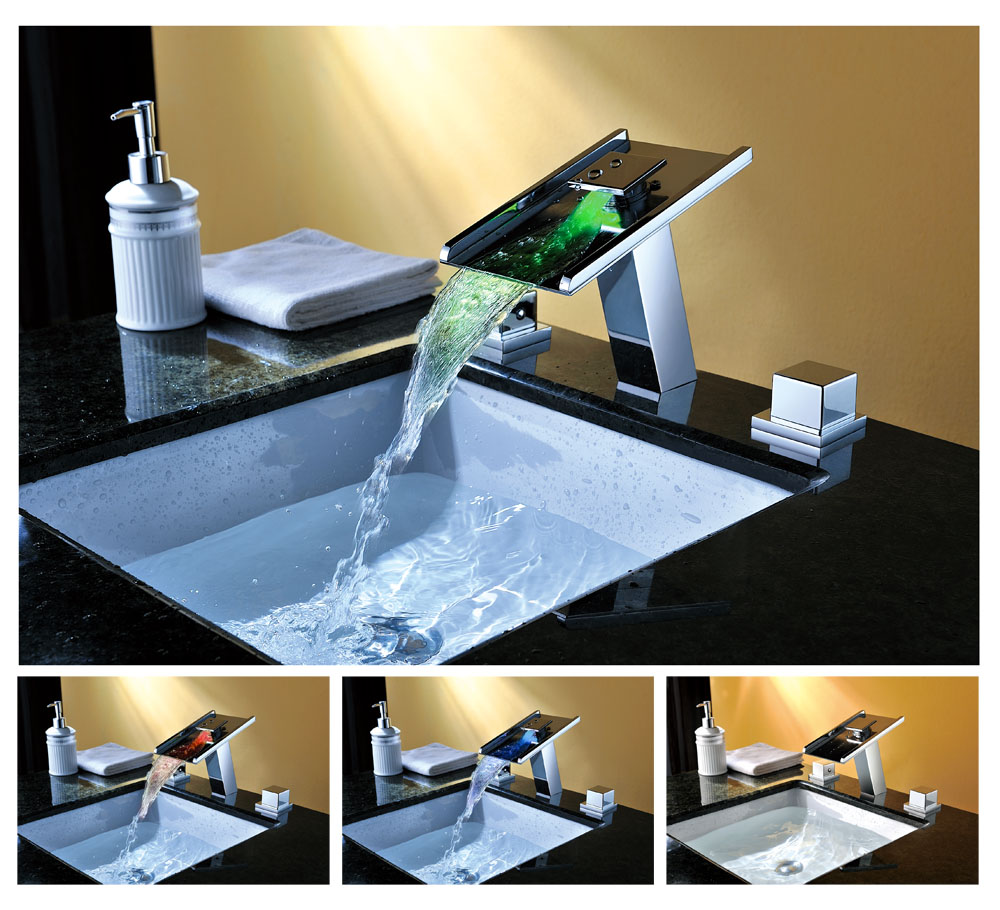 Waterfall LED Bathroom Vessel Sink Faucet