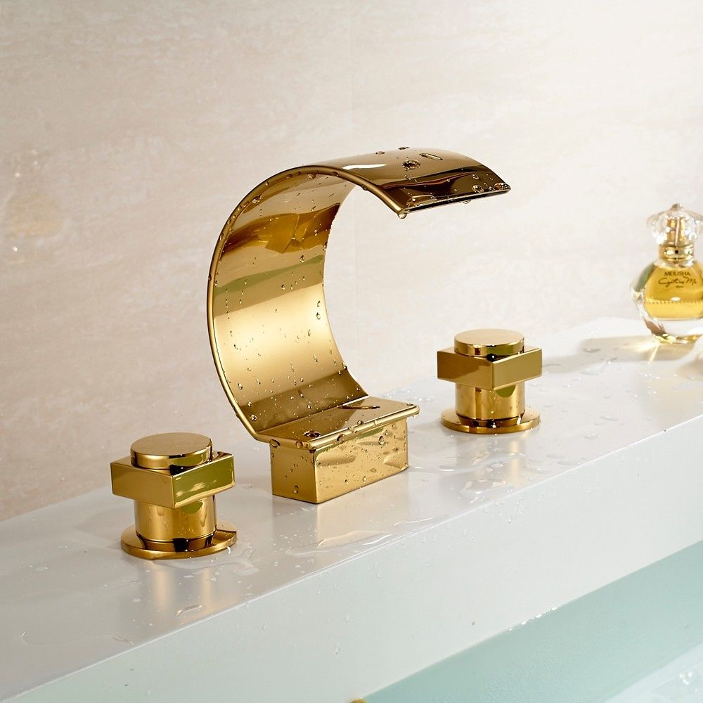 Lorraine Gold Plated Dual Handle Faucet in Vessel Sink Faucet