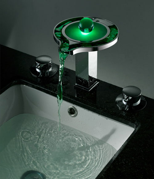 Bathroom Sink Faucet Round LED Waterfall with Brass Chrome Finish