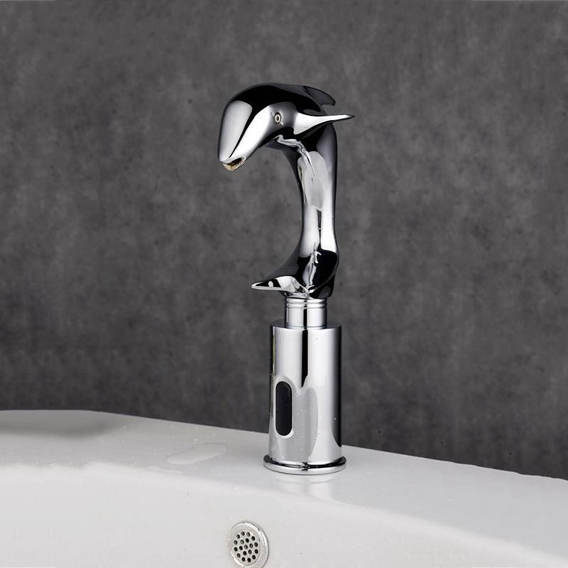 Beautiful Dolphin Chrome Finished Sensor Bathroom Faucet
