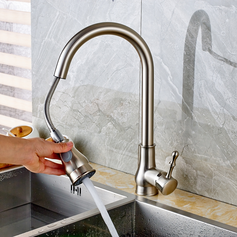 Beautiful Dual Handle Pull Out Curved Kitchen Sink Faucet