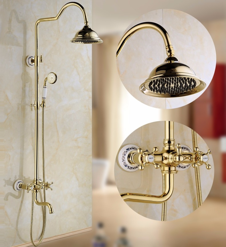 Beautiful Gold Polished Large Bathroom Shower with Hand-Held Shower