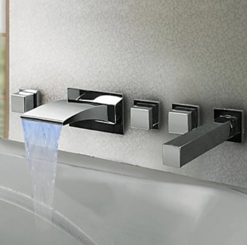 Beautiful Square Handle LED Widespread Bathroom Bathtub Faucet with Hand Held Shower