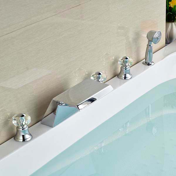 Beautiful Triple Crystal Handle Bathtub Faucet with Handheld Shower Mixer