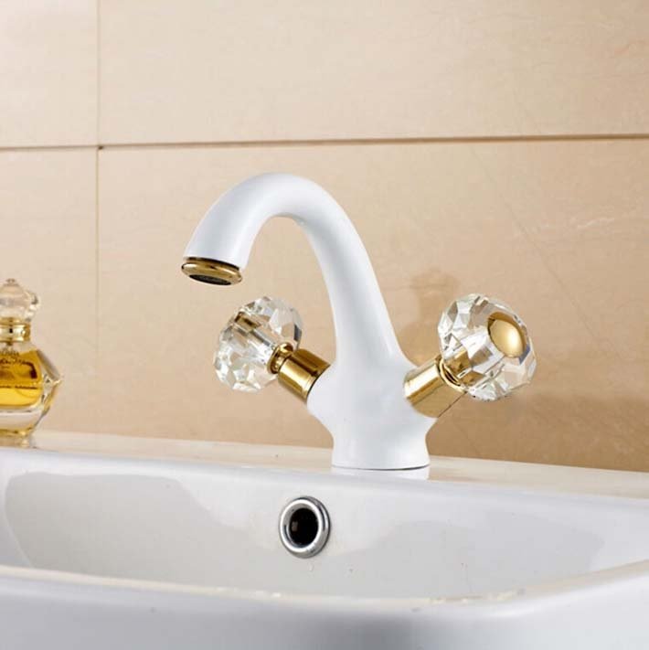 Beautiful White Crystal Double Handle Bathroom Sink Faucet