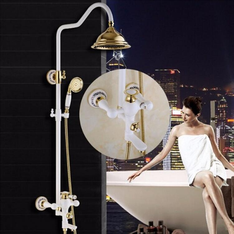 Beautiful White Gold Wall Mount Shower Faucet with Hand-Held Shower