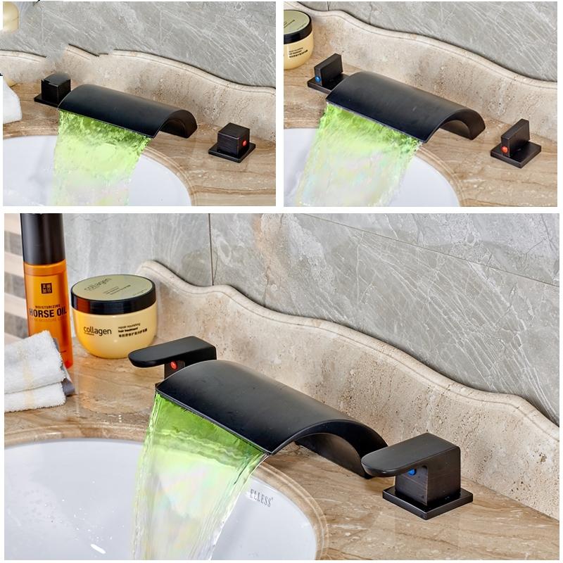 Black Deck Mounted Widespread Waterfall Bathroom Sink Faucet