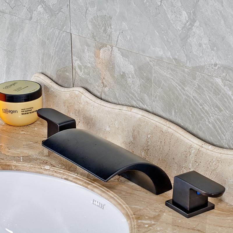 Black Deck Mounted Widespread Waterfall Bathroom Sink FaucetBlack Deck Mounted Widespread Waterfall Bathroom Sink Faucet