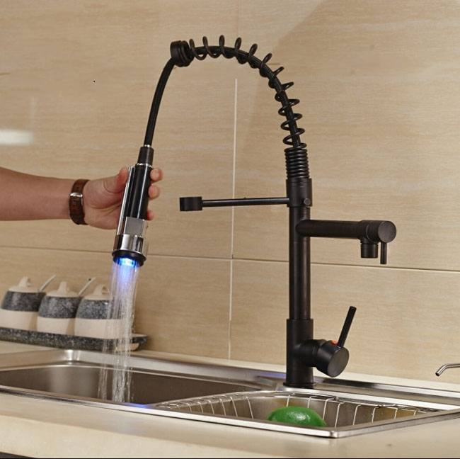 Black Oil-Rubbed Bronze LED 360-Degree Rotation Swivel Kitchen Faucet