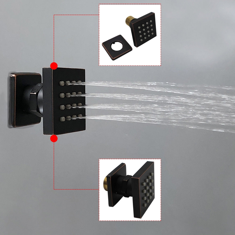 Black Rainfall Digital Shower Head with 6 Jet Spa Bathroom Shower