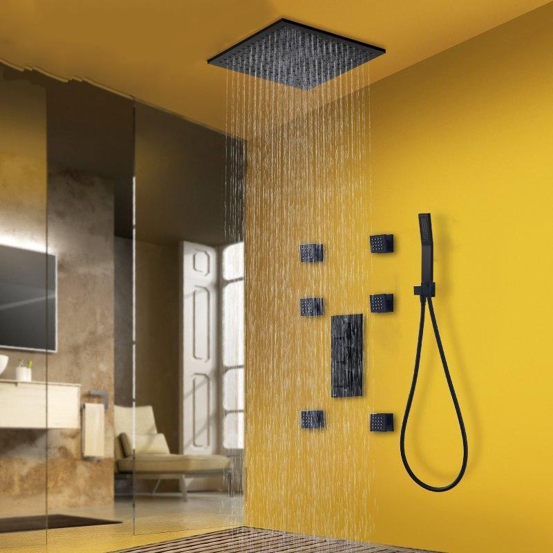 Black Rainfall Thermostatic Shower Head with 6 Jet Spa Bathroom Shower