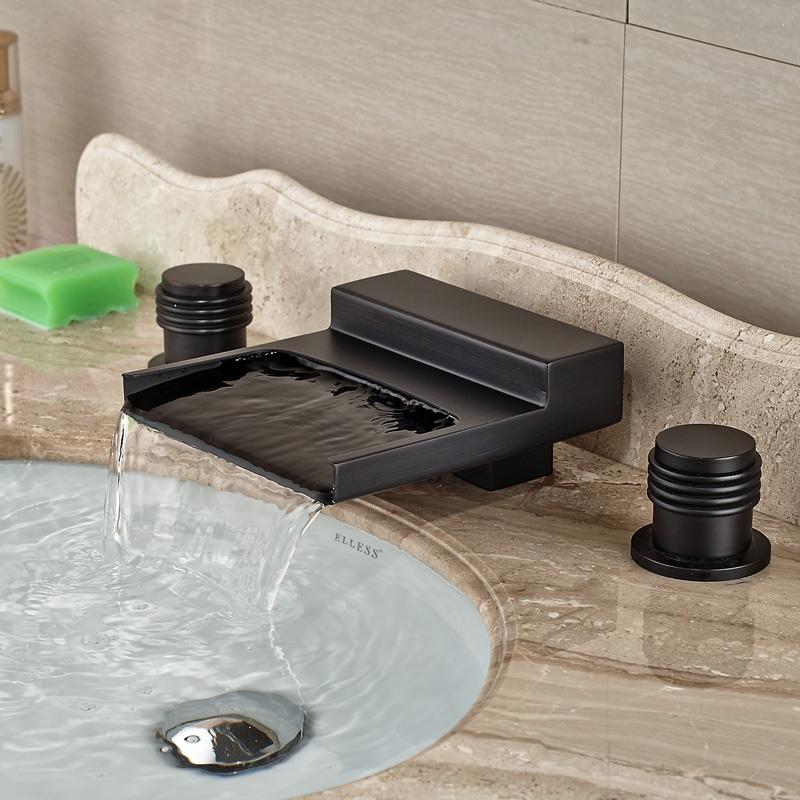 Black Widespread Waterfall Dual Handle Bathroom Sink Faucet