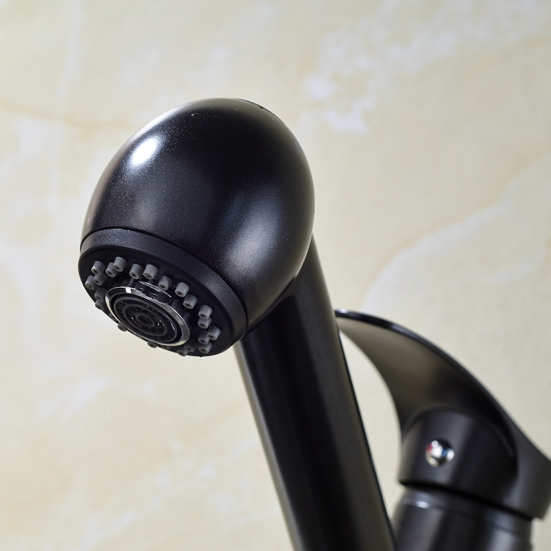 Blackened Pull Out Sprayer Deck Kitchen Sink Faucet