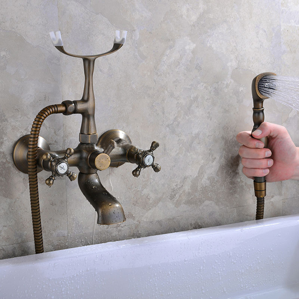 Antique Bronze Clawfoot Tub Filler Faucet With Metal Cross